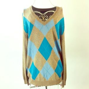 Express.  Cashmere blend tan & turquoise sweater